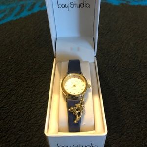 Bay studio new in box navy and gold dolphin watch